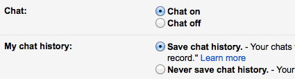Gmail chat settings