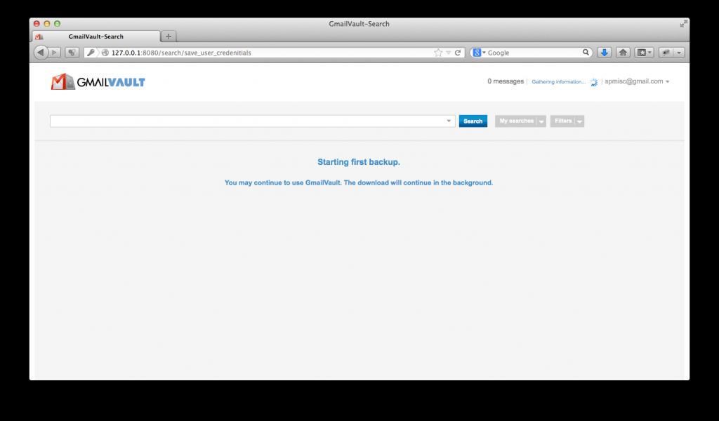 GmailVault - First backup