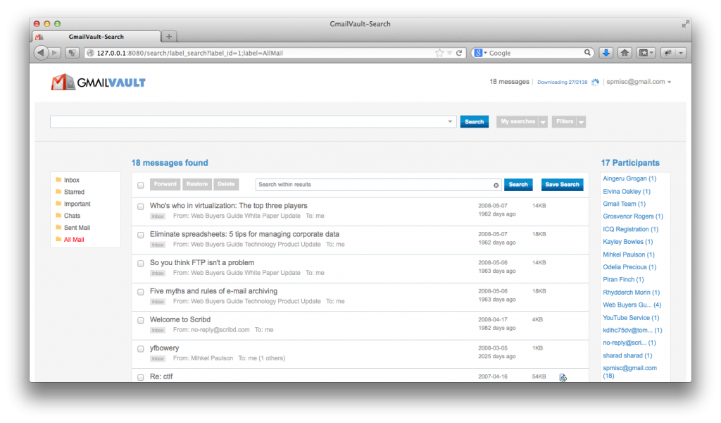 GmailVault - first backup, All Mail