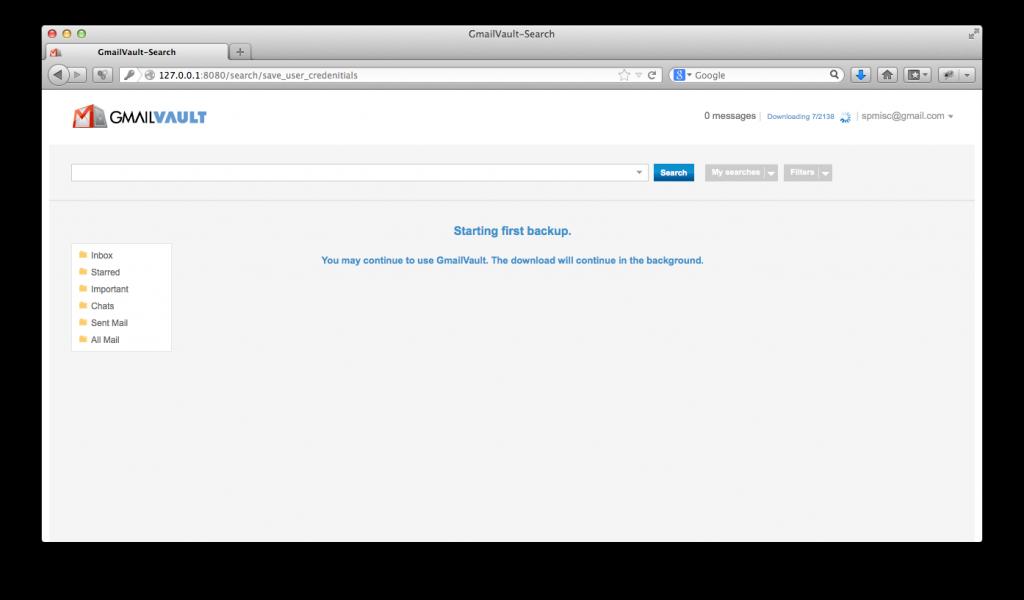 GmailVault - first backup, folders