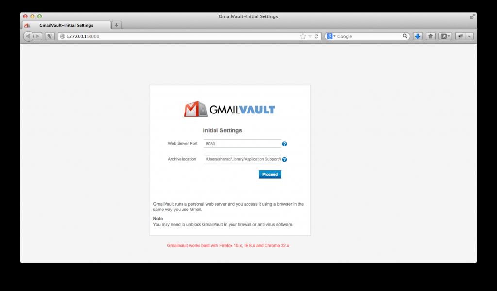 GmailVault - Initial Settings